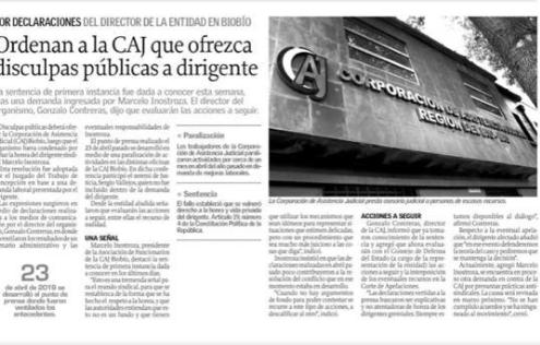 Noticia fue parte de la pauta periodística de El Diario el Sur este 22 de enero.